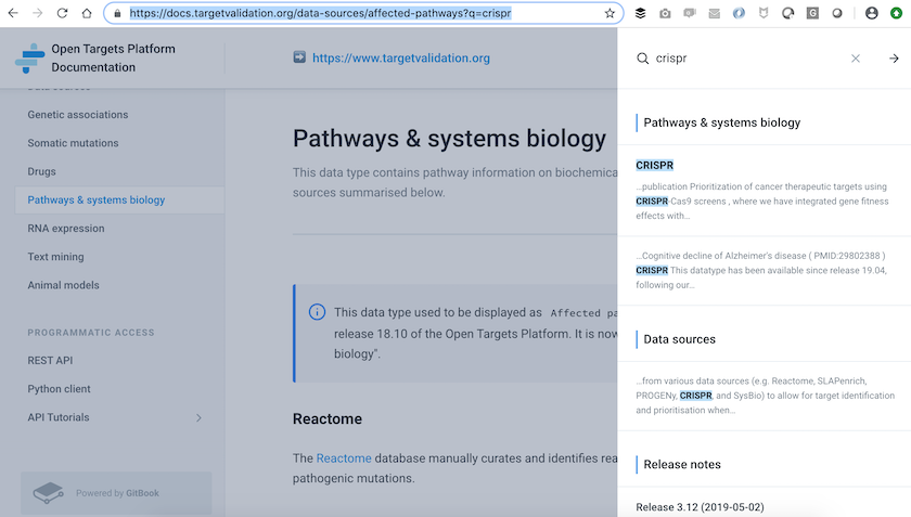 Screenshot of the Open Targets Platform documentation, showing the pathways and systems biology page