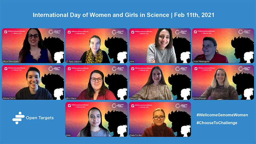 Graphic featuring the women of Open Targets on a virtual conference call, with backgrounds celebrating the International Day of Women and Girls in Science