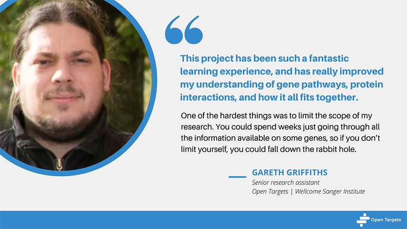 Quote from Gareth Griffiths: This project has been such a fantastic learning experience, and has really improved my understanding of gene pathways, protein interactions, and how it all fits together. One of the hardest things was to limit the scope of my research. You could spend weeks just going through all the information available on some genes, so if you don't limit yourself, you could fall down the rabbit hole.