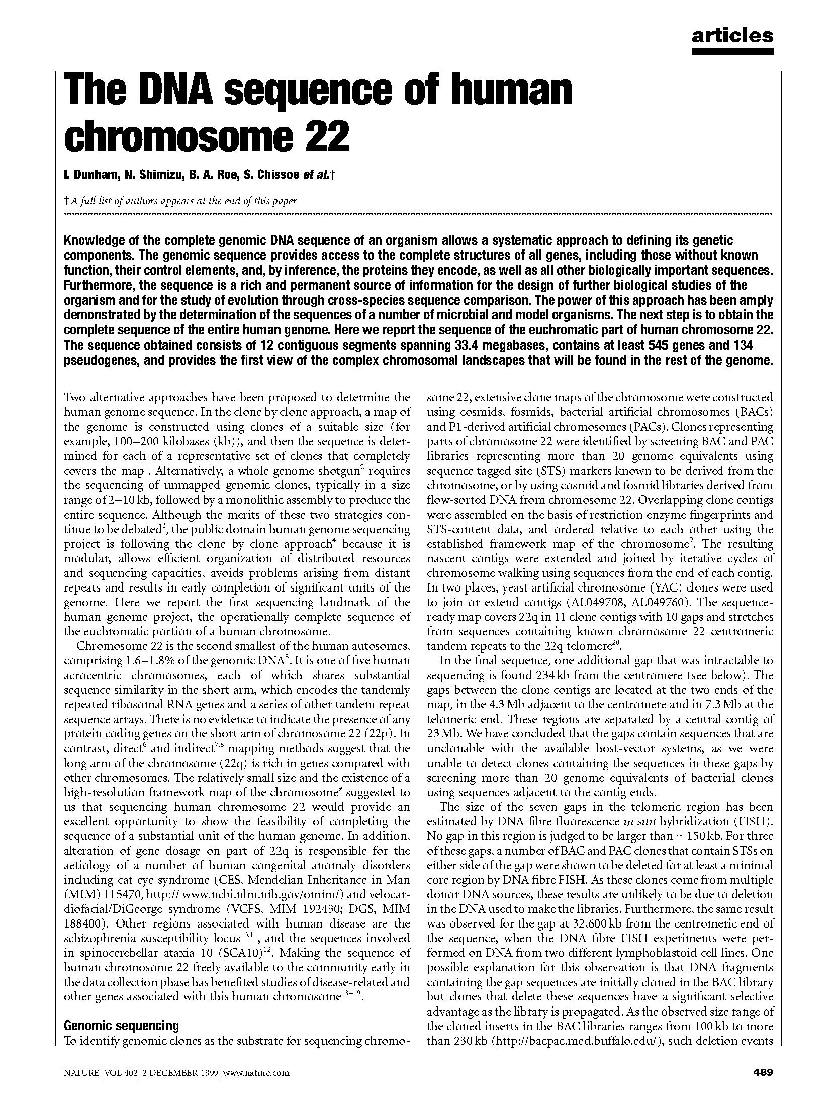 """page of text from a research article, the title reads: """"The DNA sequencing of Chromosome 22"""""""