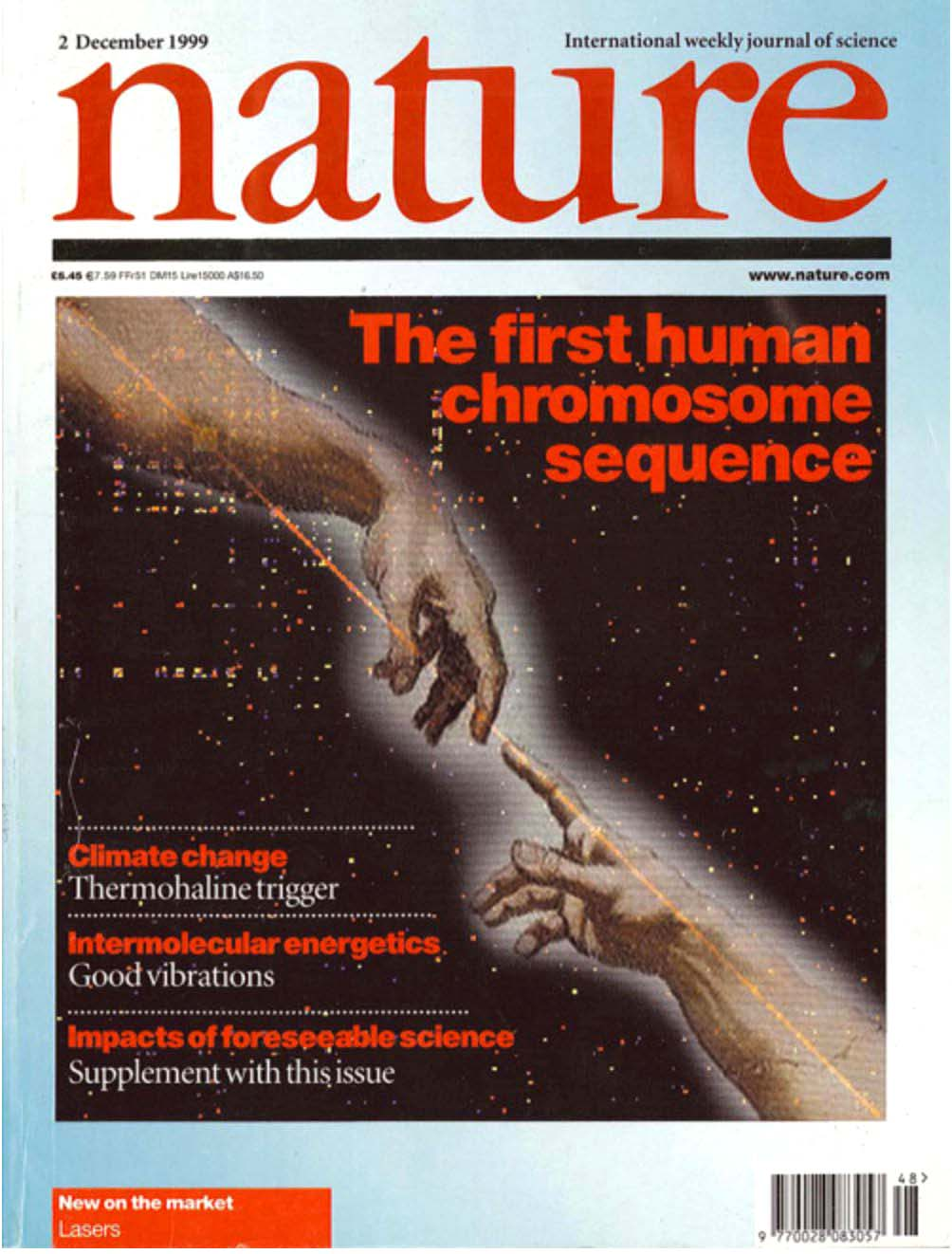 """Journal cover featuring an image of two hands pointing at each other and almost touching, with the text: """"Nature"""" and """"the first human chromosome sequence"""""""